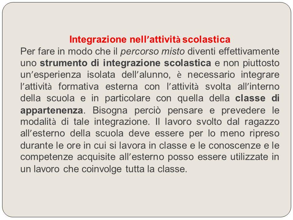Integrazione nell ' attivit à scolastica Per fare in modo che il percorso misto diventi effettivamente uno strumento di integrazione scolastica e non