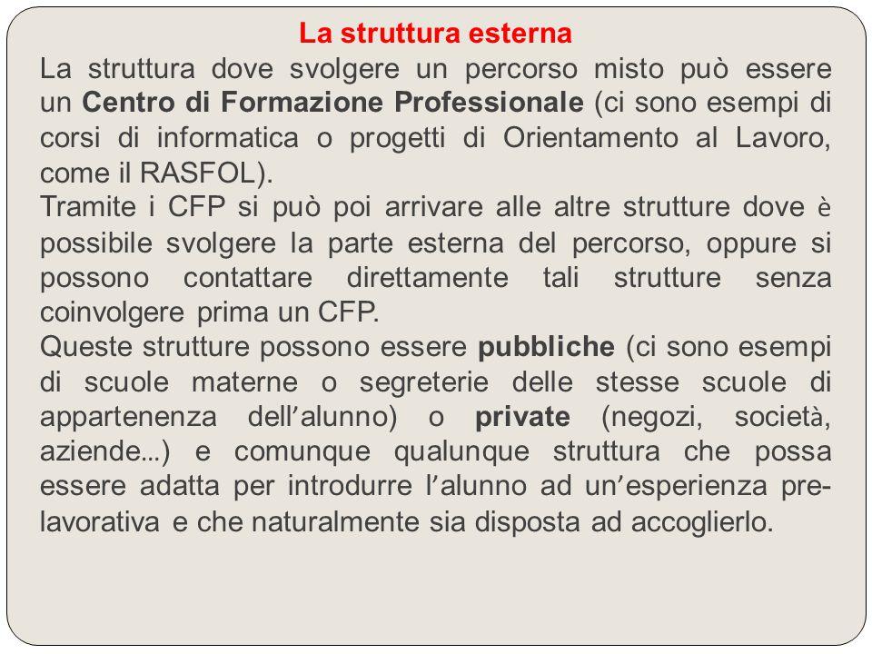 La struttura esterna La struttura dove svolgere un percorso misto può essere un Centro di Formazione Professionale (ci sono esempi di corsi di informa