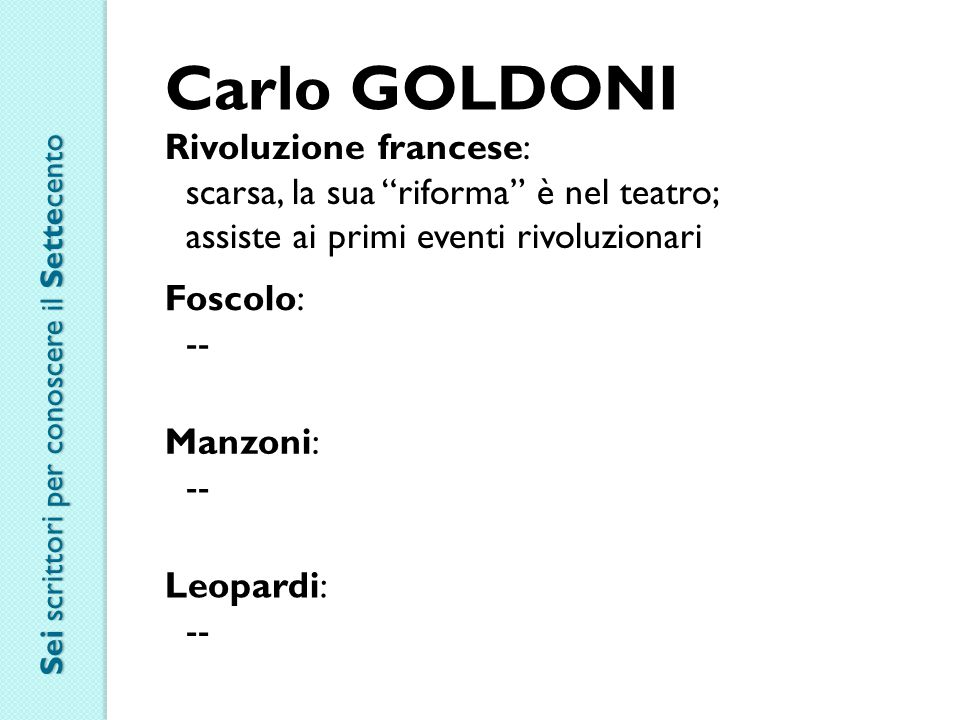 Carlo GOLDONI Rivoluzione francese: scarsa, la sua riforma è nel teatro; assiste ai primi eventi rivoluzionari Foscolo: -- Manzoni: -- Leopardi: -- Sei scrittori per conoscere il Settecento