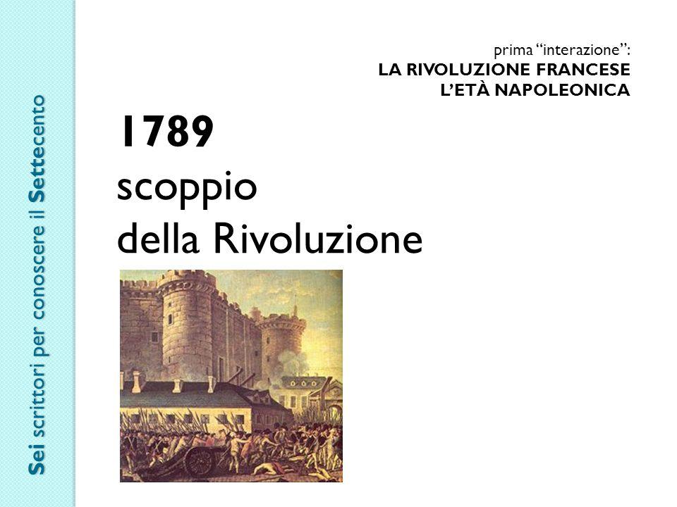 prima interazione : LA RIVOLUZIONE FRANCESE L'ETÀ NAPOLEONICA 1789 scoppio della Rivoluzione Sei scrittori per conoscere il Settecento