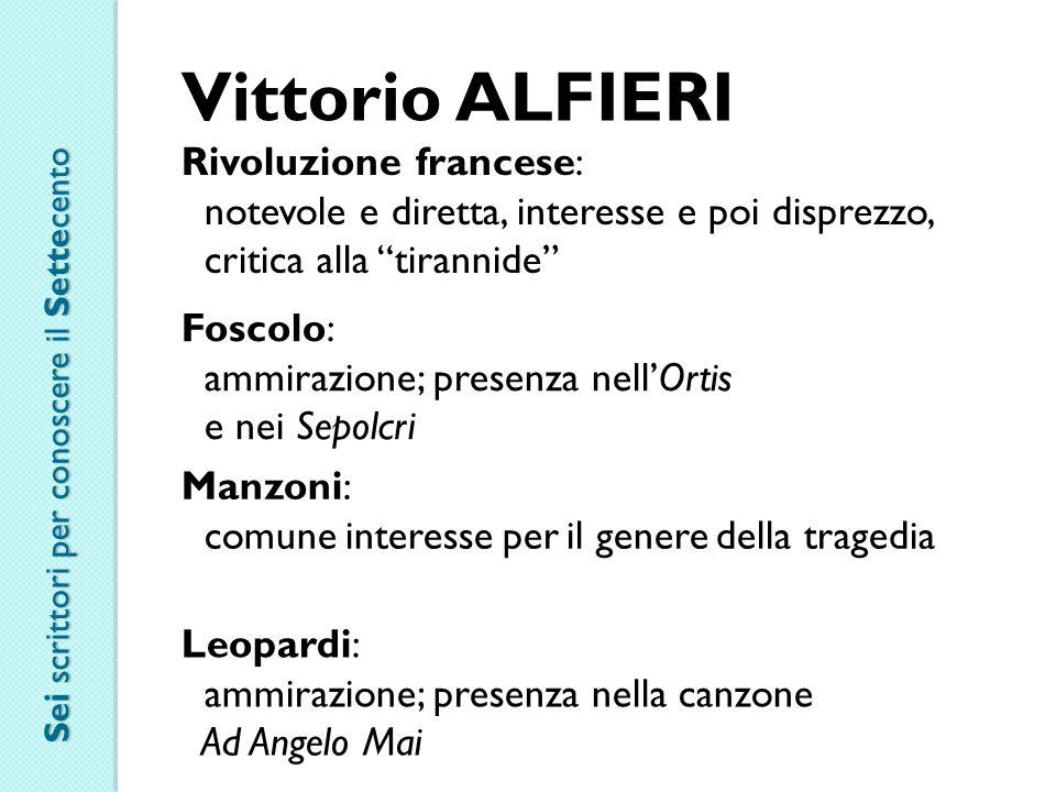 """Vittorio ALFIERI Rivoluzione francese: notevole e diretta, interesse e poi disprezzo, critica alla """"tirannide"""" Foscolo: ammirazione; presenza nell'Ort"""