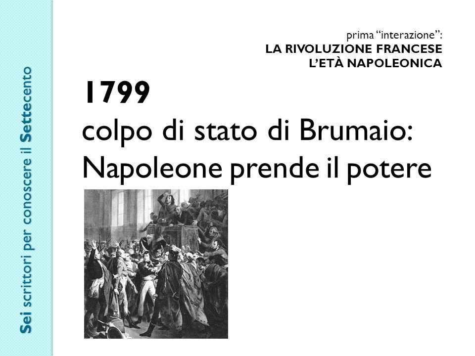 """prima """"interazione"""": LA RIVOLUZIONE FRANCESE L'ETÀ NAPOLEONICA 1799 colpo di stato di Brumaio: Napoleone prende il potere Sei scrittori per conoscere"""