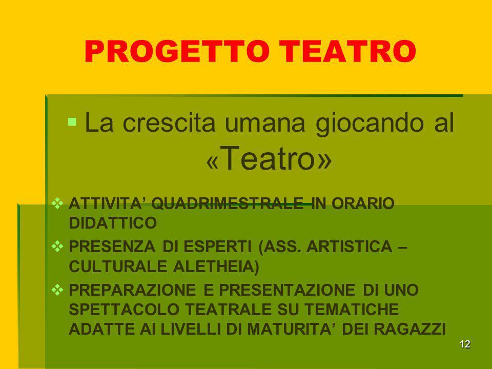 PROGETTO TEATRO 12  La crescita umana giocando al « Teatro»  ATTIVITA' QUADRIMESTRALE IN ORARIO DIDATTICO  PRESENZA DI ESPERTI (ASS. ARTISTICA – CU