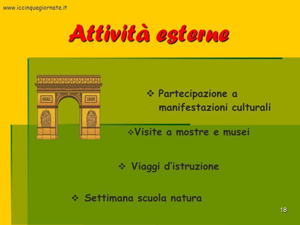 18 Attività esterne  Partecipazione a manifestazioni culturali  Settimana scuola natura  Viaggi d'istruzione  Visite a mostre e musei www.iccinque