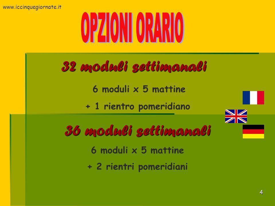 4 32 moduli settimanali 6 moduli x 5 mattine + 1 rientro pomeridiano 36 moduli settimanali 6 moduli x 5 mattine + 2 rientri pomeridiani www.iccinquegi