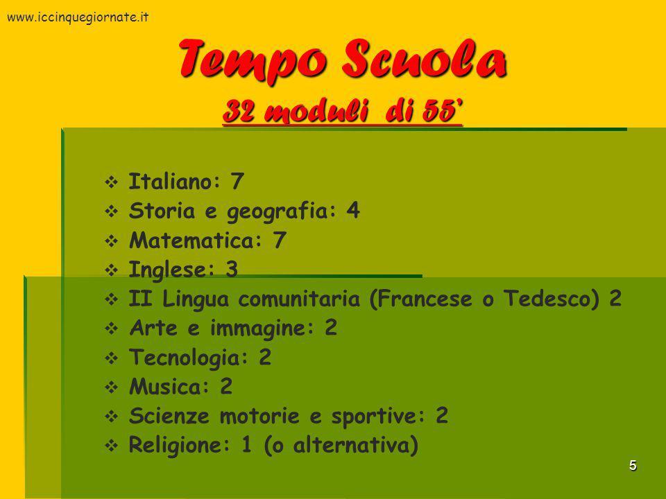 5  Italiano: 7  Storia e geografia: 4  Matematica: 7  Inglese: 3  II Lingua comunitaria (Francese o Tedesco) 2  Arte e immagine: 2  Tecnologia: