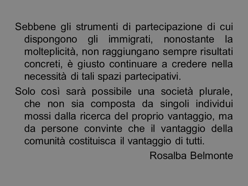 Sebbene gli strumenti di partecipazione di cui dispongono gli immigrati, nonostante la molteplicità, non raggiungano sempre risultati concreti, è giusto continuare a credere nella necessità di tali spazi partecipativi.