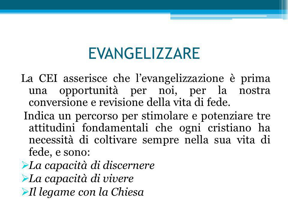 EVANGELIZZARE La CEI asserisce che l'evangelizzazione è prima una opportunità per noi, per la nostra conversione e revisione della vita di fede. Indic