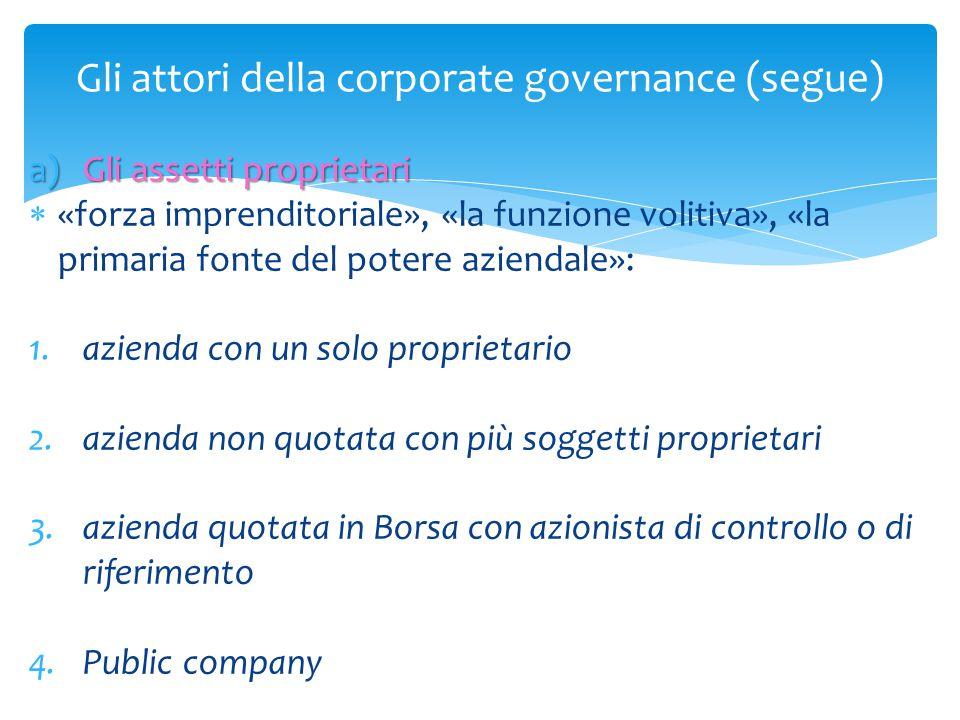 Gli attori della corporate governance (segue) a)Gli assetti proprietari  «forza imprenditoriale», «la funzione volitiva», «la primaria fonte del pote