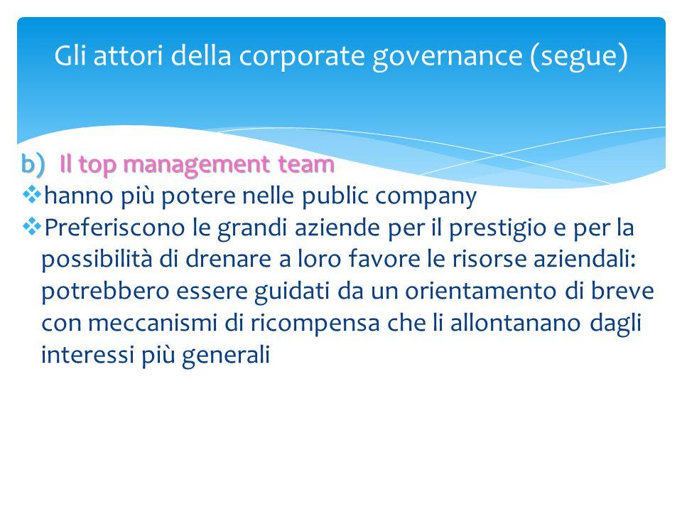 Gli attori della corporate governance (segue) b)Il top management team  hanno più potere nelle public company  Preferiscono le grandi aziende per il