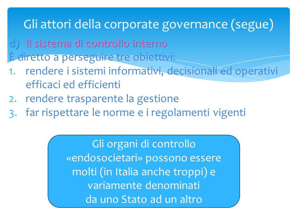 Gli attori della corporate governance (segue) d)Il sistema di controllo interno È diretto a perseguire tre obiettivi: 1.rendere i sistemi informativi,