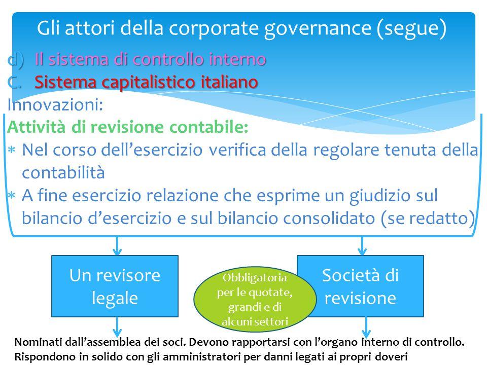 Gli attori della corporate governance (segue) d)Il sistema di controllo interno C.Sistema capitalistico italiano Innovazioni: Attività di revisione co
