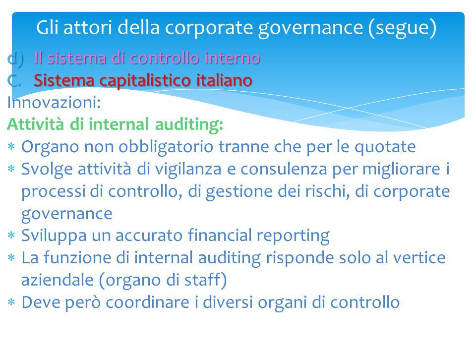 Gli attori della corporate governance (segue) d)Il sistema di controllo interno C.Sistema capitalistico italiano Innovazioni: Attività di internal aud