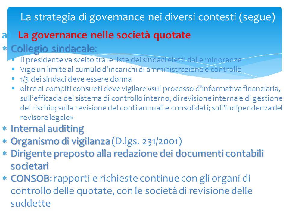 La strategia di governance nei diversi contesti (segue) a)La governance nelle società quotate  Collegio sindacale  Collegio sindacale:  Il presiden