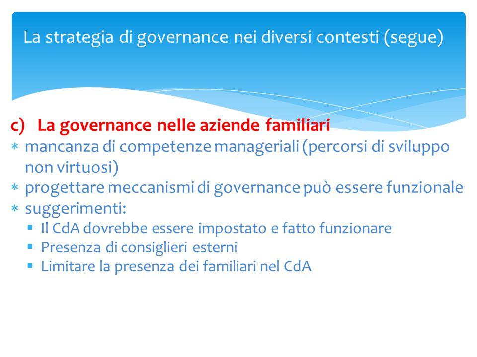 La strategia di governance nei diversi contesti (segue) c)La governance nelle aziende familiari  mancanza di competenze manageriali (percorsi di svil