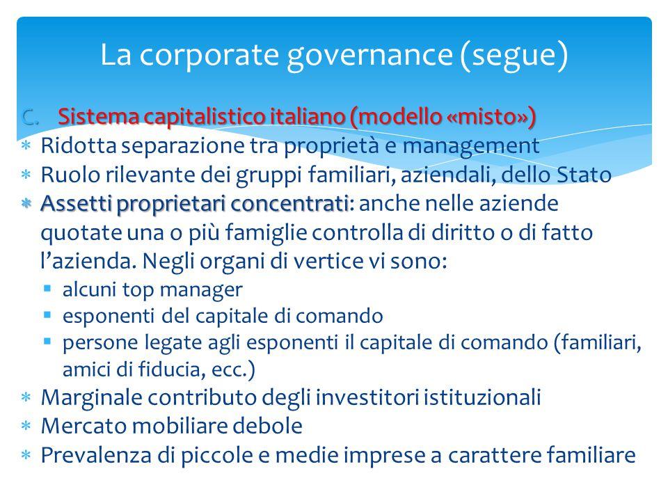 La corporate governance (segue) C.Sistema capitalistico italiano (modello «misto»)  Ridotta separazione tra proprietà e management  Ruolo rilevante