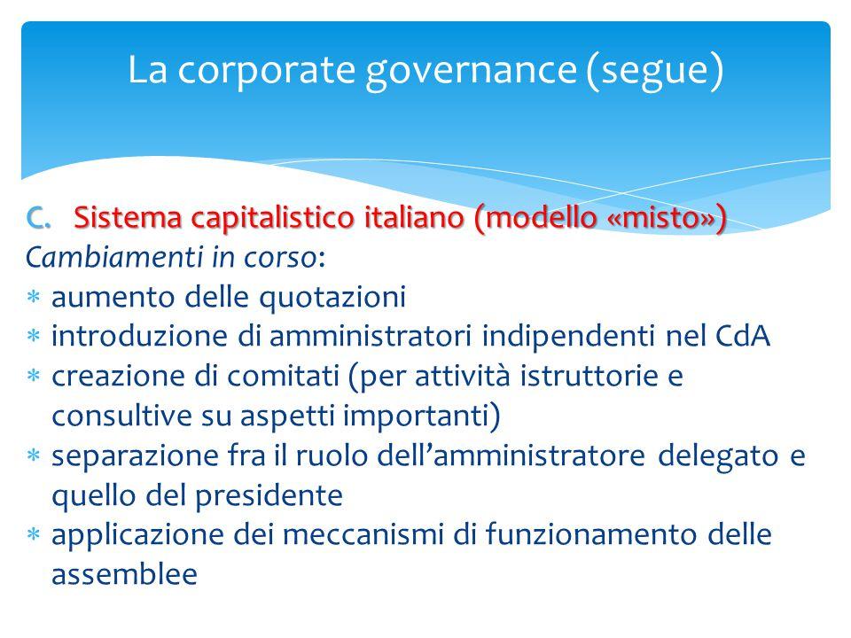La corporate governance (segue) C.Sistema capitalistico italiano (modello «misto») Cambiamenti in corso:  aumento delle quotazioni  introduzione di