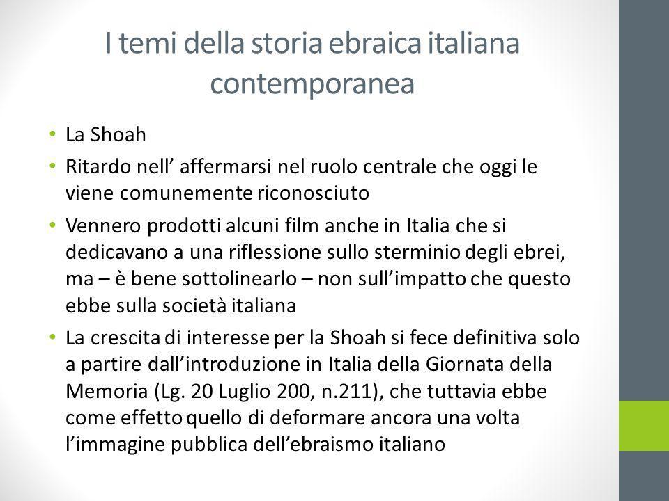 I temi della storia ebraica italiana contemporanea La Shoah Ritardo nell' affermarsi nel ruolo centrale che oggi le viene comunemente riconosciuto Ven