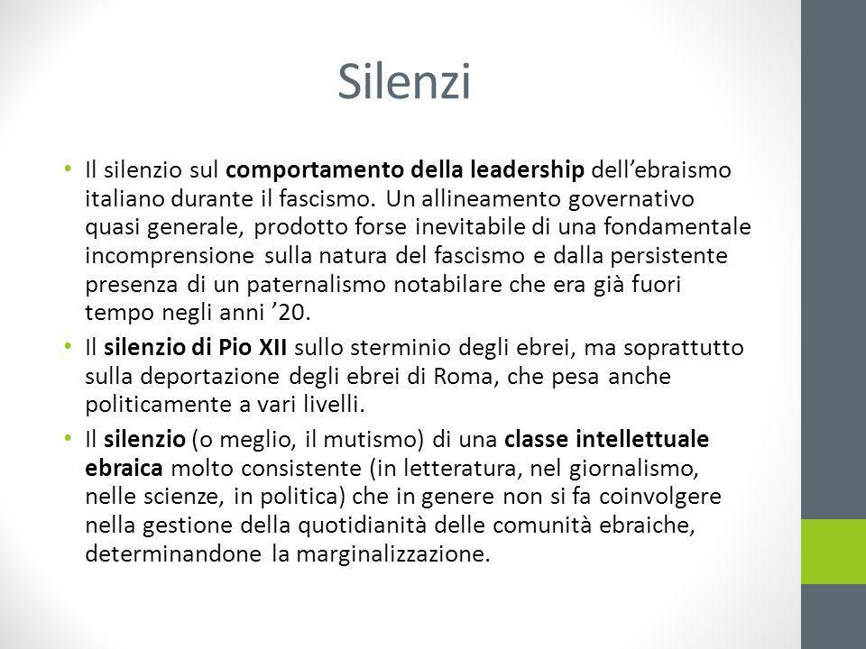 Silenzi Il silenzio sul comportamento della leadership dell'ebraismo italiano durante il fascismo.