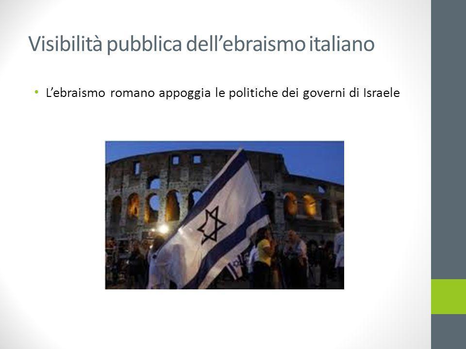 Visibilità pubblica dell'ebraismo italiano L'ebraismo romano appoggia le politiche dei governi di Israele