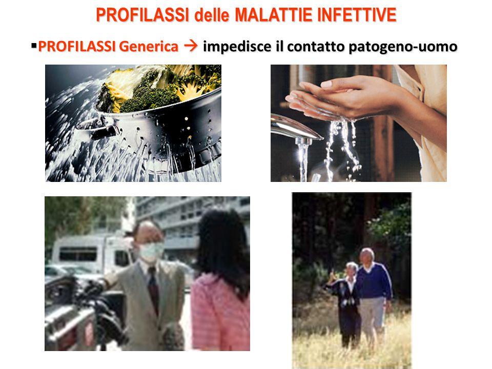 PROFILASSI delle MALATTIE INFETTIVE  PROFILASSI Generica  impedisce il contatto patogeno-uomo