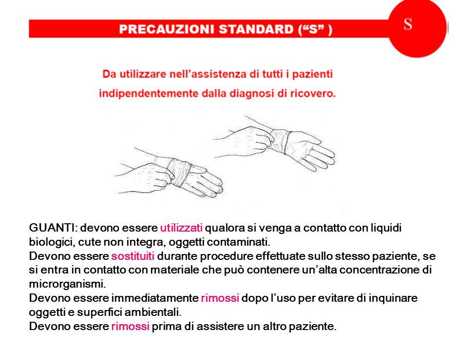 GUANTI: devono essere utilizzati qualora si venga a contatto con liquidi biologici, cute non integra, oggetti contaminati.