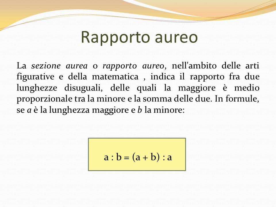 Rettangolo aureo Il rettangolo aureo è un rettangolo le cui proporzioni sono basate sulla proporzione aurea.