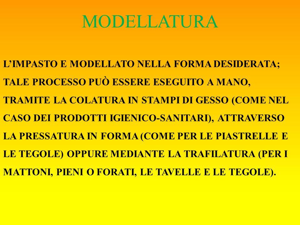 MODELLATURA L'IMPASTO E MODELLATO NELLA FORMA DESIDERATA; TALE PROCESSO PUÒ ESSERE ESEGUITO A MANO, TRAMITE LA COLATURA IN STAMPI DI GESSO (COME NEL CASO DEI PRODOTTI IGIENICO-SANITARI), ATTRAVERSO LA PRESSATURA IN FORMA (COME PER LE PIASTRELLE E LE TEGOLE) OPPURE MEDIANTE LA TRAFILATURA (PER I MATTONI, PIENI O FORATI, LE TAVELLE E LE TEGOLE).