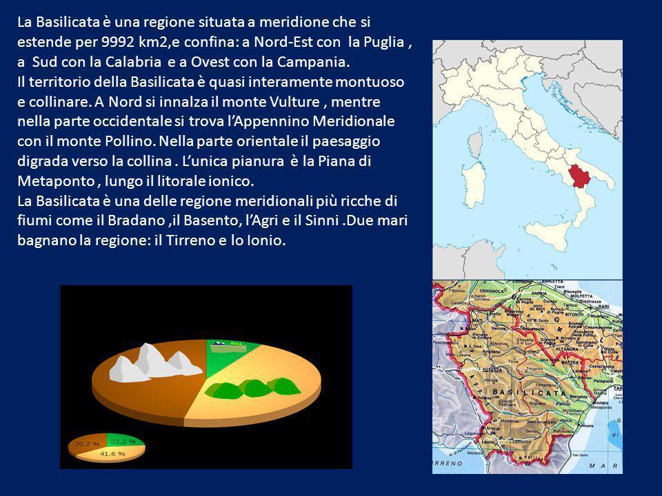 La Basilicata è una regione situata a meridione che si estende per 9992 km2,e confina: a Nord-Est con la Puglia, a Sud con la Calabria e a Ovest con la Campania.