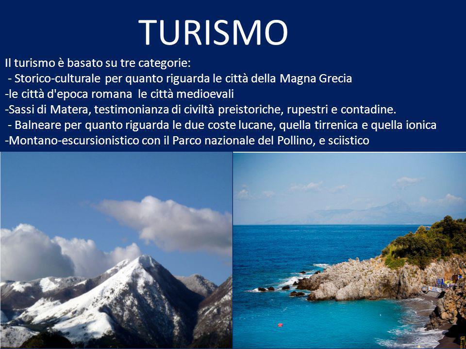 TURISMO Il turismo è basato su tre categorie: - Storico-culturale per quanto riguarda le città della Magna Grecia -le città d epoca romana le città medioevali -Sassi di Matera, testimonianza di civiltà preistoriche, rupestri e contadine.