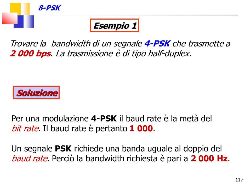 117 Esempio 1 Trovare la bandwidth di un segnale 4-PSK che trasmette a 2 000 bps. La trasmissione è di tipo half-duplex. Per una modulazione 4-PSK il
