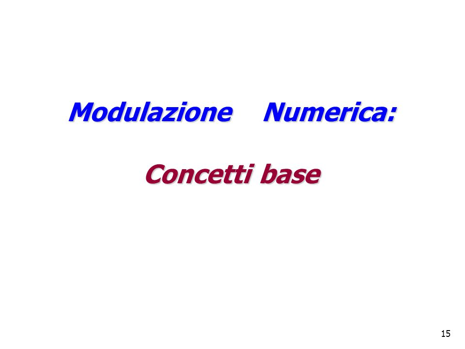 15 Modulazione Numerica: Concetti base