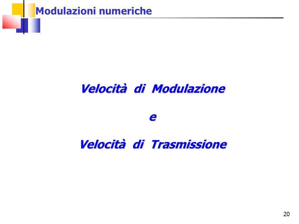 20 Velocità di Modulazione e Velocità di Trasmissione Modulazioni numeriche