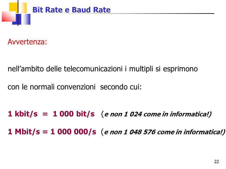 22 Bit Rate e Baud Rate Avvertenza: nell'ambito delle telecomunicazioni i multipli si esprimono con le normali convenzioni secondo cui: 1 kbit/s = 1 0