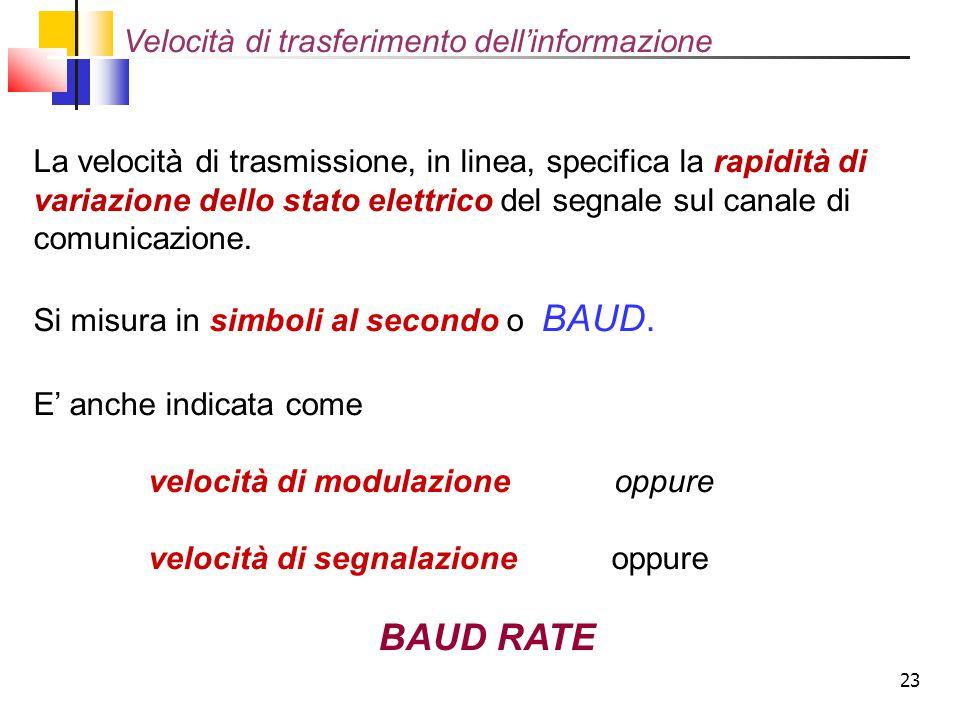 23 La velocità di trasmissione, in linea, specifica la rapidità di variazione dello stato elettrico del segnale sul canale di comunicazione. Si misura