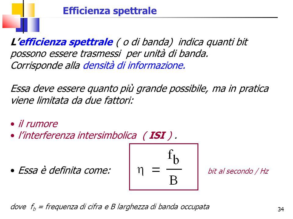 34 Efficienza spettrale L'efficienza spettrale ( o di banda) indica quanti bit possono essere trasmessi per unità di banda. Corrisponde alla densità d