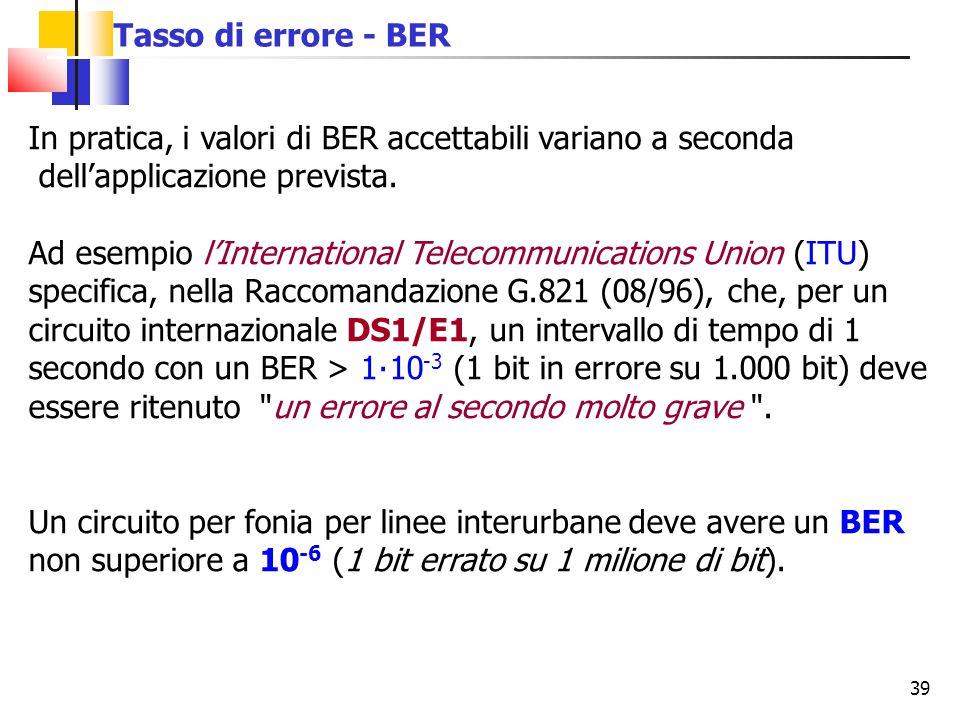 39 In pratica, i valori di BER accettabili variano a seconda dell'applicazione prevista. Ad esempio l'International Telecommunications Union (ITU) spe