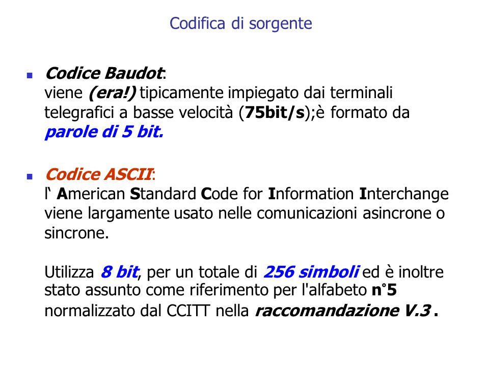 Codice Baudot: viene (era!) tipicamente impiegato dai terminali telegrafici a basse velocità (75bit/s);è formato da parole di 5 bit. Codice ASCII: l'