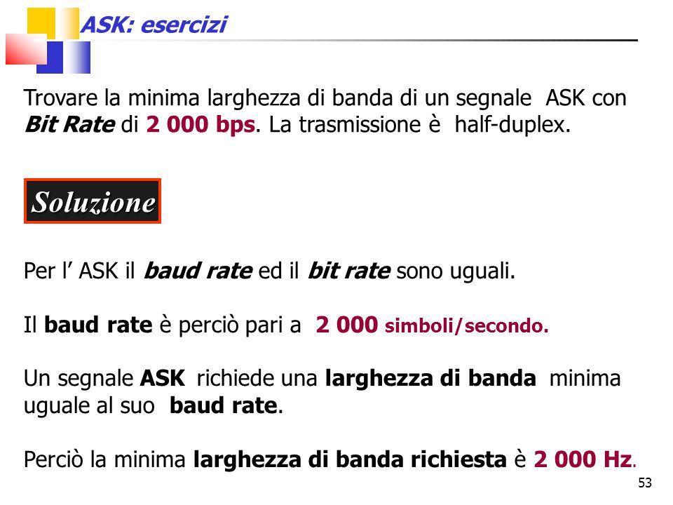 53 Trovare la minima larghezza di banda di un segnale ASK con Bit Rate di 2 000 bps. La trasmissione è half-duplex. Soluzione Per l' ASK il baud rate