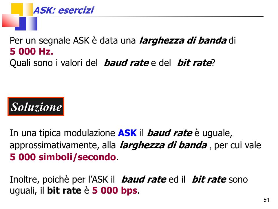 54 Per un segnale ASK è data una larghezza di banda di 5 000 Hz. Quali sono i valori del baud rate e del bit rate? Soluzione In una tipica modulazione