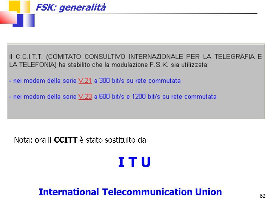 62 Nota: ora il CCITT è stato sostituito da I T U International Telecommunication Union FSK: generalità