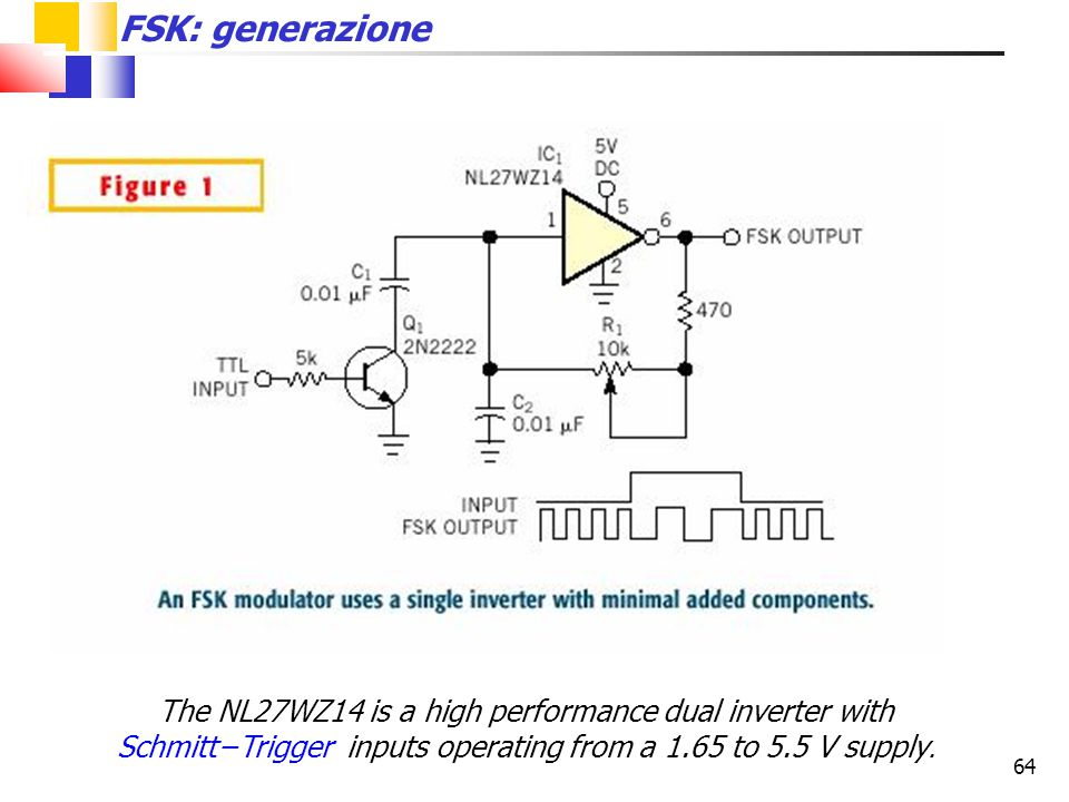 64 FSK: generazione The NL27WZ14 is a high performance dual inverter with Schmitt−Trigger inputs operating from a 1.65 to 5.5 V supply.