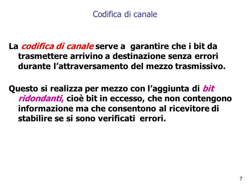 8 La codifica di linea è necessaria per adattare il segnale al tipo di linea in cui deve transitare.