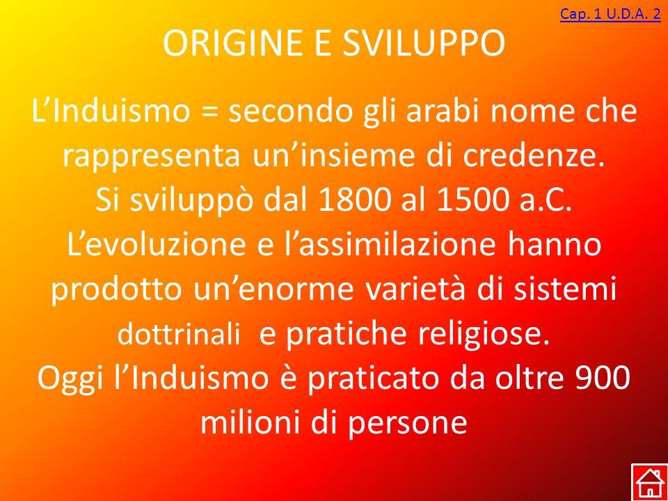 ORIGINE E SVILUPPO Cap. 1 U.D.A. 2 L'Induismo = secondo gli arabi nome che rappresenta un'insieme di credenze. Si sviluppò dal 1800 al 1500 a.C. L'evo