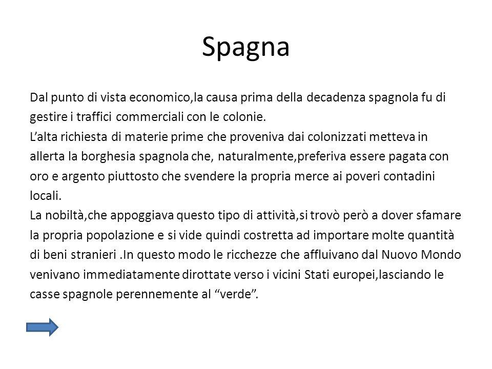 Spagna Dal punto di vista economico,la causa prima della decadenza spagnola fu di gestire i traffici commerciali con le colonie. L'alta richiesta di m