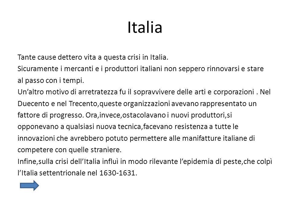 Italia Tante cause dettero vita a questa crisi in Italia. Sicuramente i mercanti e i produttori italiani non seppero rinnovarsi e stare al passo con i