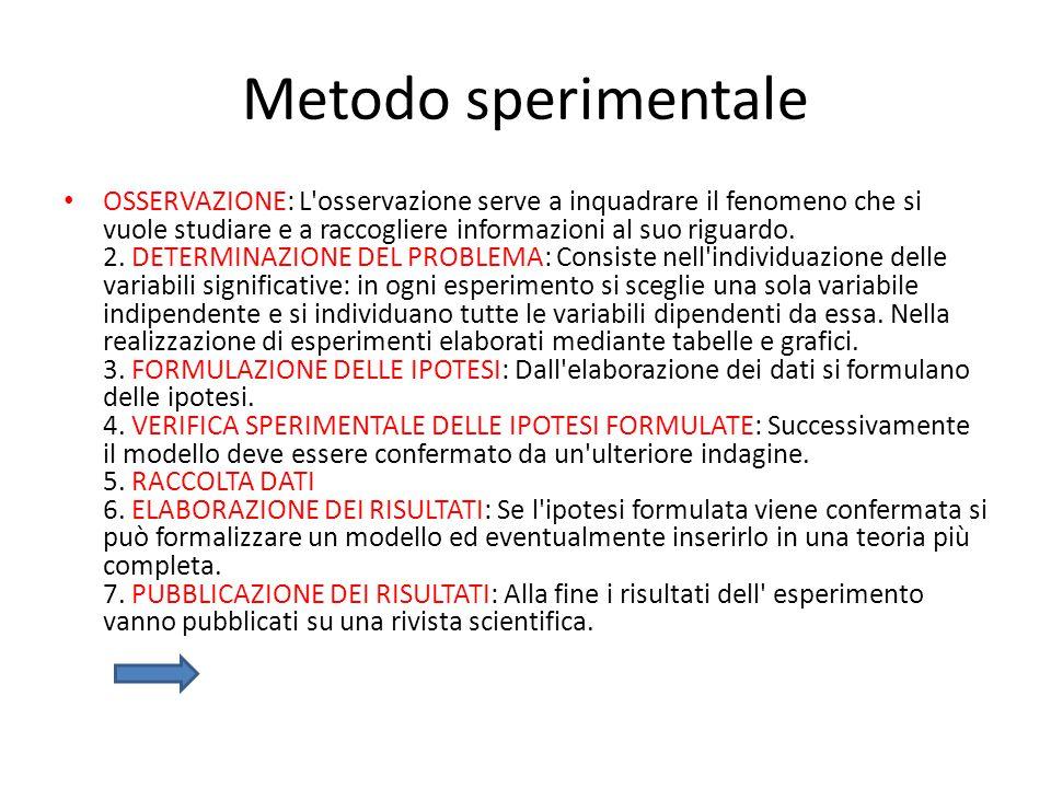 Metodo sperimentale OSSERVAZIONE: L'osservazione serve a inquadrare il fenomeno che si vuole studiare e a raccogliere informazioni al suo riguardo. 2.