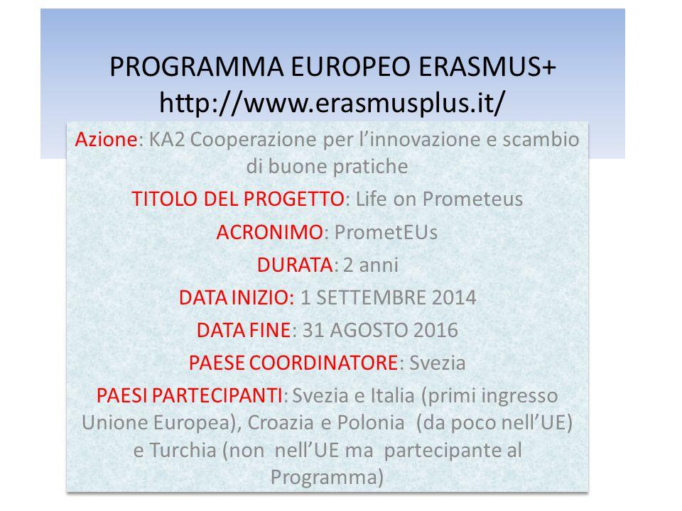 PROGRAMMA EUROPEO ERASMUS+ http://www.erasmusplus.it/ Azione: KA2 Cooperazione per l'innovazione e scambio di buone pratiche TITOLO DEL PROGETTO: Life on Prometeus ACRONIMO: PrometEUs DURATA: 2 anni DATA INIZIO: 1 SETTEMBRE 2014 DATA FINE: 31 AGOSTO 2016 PAESE COORDINATORE: Svezia PAESI PARTECIPANTI: Svezia e Italia (primi ingresso Unione Europea), Croazia e Polonia (da poco nell'UE) e Turchia (non nell'UE ma partecipante al Programma) Azione: KA2 Cooperazione per l'innovazione e scambio di buone pratiche TITOLO DEL PROGETTO: Life on Prometeus ACRONIMO: PrometEUs DURATA: 2 anni DATA INIZIO: 1 SETTEMBRE 2014 DATA FINE: 31 AGOSTO 2016 PAESE COORDINATORE: Svezia PAESI PARTECIPANTI: Svezia e Italia (primi ingresso Unione Europea), Croazia e Polonia (da poco nell'UE) e Turchia (non nell'UE ma partecipante al Programma)