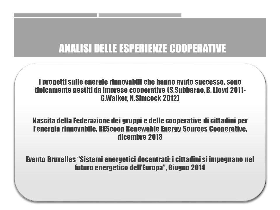 ANALISI DELLE ESPERIENZE COOPERATIVE I progetti sulle energie rinnovabili che hanno avuto successo, sono tipicamente gestiti da imprese cooperative (S.Subbarao, B.