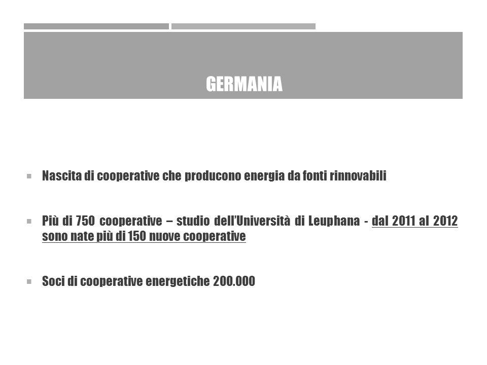GERMANIA  Nascita di cooperative che producono energia da fonti rinnovabili  Più di 750 cooperative – studio dell'Università di Leuphana - dal 2011 al 2012 sono nate più di 150 nuove cooperative  Soci di cooperative energetiche 200.000